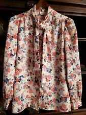 Vintage 70's Levi Strauss & Co Polyester Shirt Womens Medium Floral Print Tie