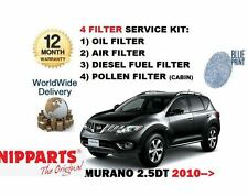 FOR NISSAN MURANO 2.5DT DCi 2010--> NEW SERVICE OIL AIR FUEL POLLEN FILTER KIT