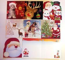 8 CARTES DE VOEUX NOEL enveloppe inclus double Père Noël renne chat chien 16 cm