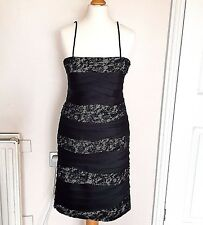 A69 Phase Eight Kate Black Satin & Lace Tiered Evening Dress Uk Size 8