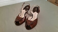 Vintage Women's Alligator Peep Toe Heels Pumps Shoes