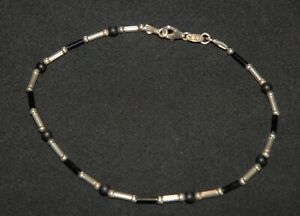 SILPADA - A1480 - Black & Sterling Silver Beaded Ankle Bracelet - RET