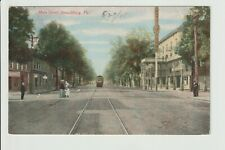 Pennsylvania Stroudsburg Main Street Scene with Trolley Car 1908 PA View POSTED