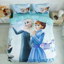 Blue Frozen Sisters Quilt Doona Duvet Cover Set King Single Queen Size Bedding
