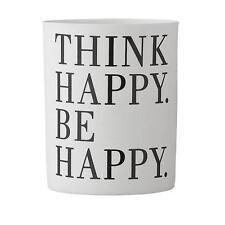 Bloomingville Teelichthalter Porzellan mit Schriftzug Think Happy Be Happy