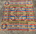 Vintage Tapestry Tablecloth (Silk?) Brocade Scalloped Made in Morocco Italy
