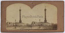 Place de la Bastille Paris Stéréo Vintage albumine vers 1860