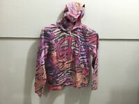 Limited too patterned hooded zipper front youth girls-siz large patterned hoodie