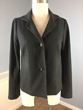 Talbots Gray Houndstooth Ponte Knit Blazer Jacket Excellent XS Career Cocktail