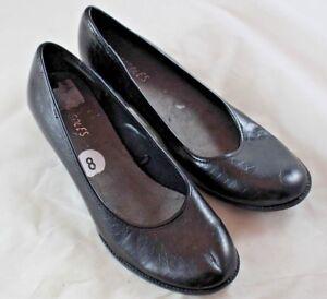 Aerosoles Tincel Women Black Round Toe Croc Heels Pumps Shoe 8 M Pre Owned