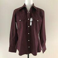 NWT CARHARTT Long Sleeve Shirt Womens Size Medium Pearl Snap Western Burgundy