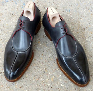 Men Handmade Leather Shoes, New Patina Designer Shoes Split Toe Gray Shoes