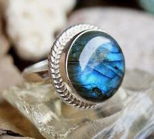 Massiv Silberring 57 Rund Modern Labradorit Handarbeit Blau Grün Silber Ring