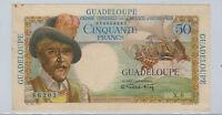1947 Guadeloupe 50 Franc Banknote AU-UNC, Rare