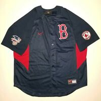 Nike Team Boston Red Sox Jersey XL Authentic Navy Blue Red With Sleeve Patches