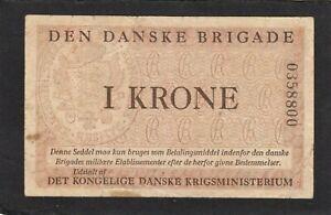 Denmark  1 krone,1947-58 , P-M10 ,Den Danske Brigade, Military Issue VG+