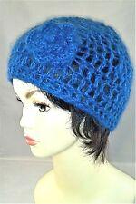 DELICATE OPEN WEAVE HAND CROCHETED BLUE MOHAIR CLOCHE HAT SKULL CAP BERET BEANIE