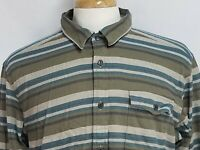 Patagonia Mens sz L Green Blue Purple Striped Long Sleeve Button Front Shirt