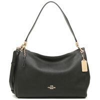 NWT COACH Mia Shoulder Bag Crossbody Classic Leather Purse Black Gold F28966