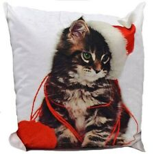 Cute Kitten Soft Thick Velvet Couch Cushion Cover Brown White Pillow Case 17x17