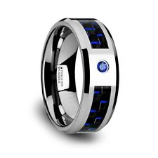 Tungsten Carbide Ring with Black & Blue Carbon Fiber and Blue Diamond  Size 3-13