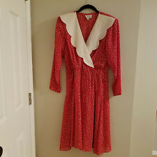 Vintage 1980's JODY California Red Polka Dot Dress w/big White Scalloped Collar