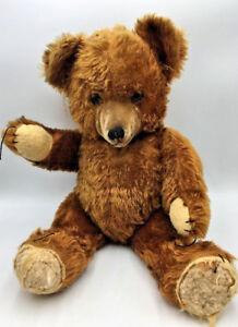 """Antique Teddy Bear 21"""" Brown Velvet Nose Kapok Stuffed Hinged"""