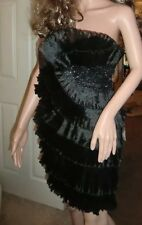 BNOWT Ladies Jovani New York Black  Fan Appliqué Strapless Mini Dress-UK 6,USA 2