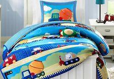 Construction Trucks Car Boys Twin Comforter, Sham & Toss Pillow, 3 Piece Bedding