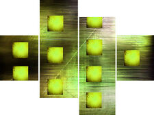 Large Abstract Canvas Picture Lime Green Square Wall Art Split Multi 4 Panel Set