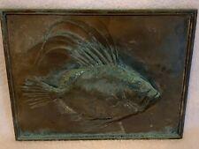 "Antique bronze sculpture plaque relief decorated John Dory fish 7x9"" grt detail"