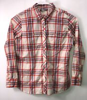 The North Face Womens Shirt Long Sleeve Red Blue Tan Plaid Cotton Size XL