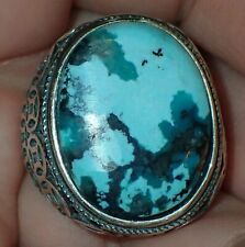 Sterling Silver Ring, Natural Turquoise Stone, #S1956, Size Adjustable 9+