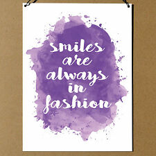 Smiles Are Always In Fashion inspiration Decorative Metal Sign Plaque 20x15cm