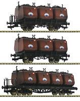 """Fleischmann H0 526505 Kohlekübelwagen-Set """"Steinkohle-Syndikat"""" gealtert NEU+OVP"""
