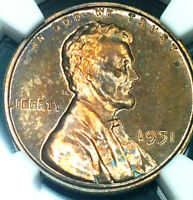 1951 Lincoln Wheat Penny Cent- PF-63 RB NGC Graded and Slabbed Beautiful Toning