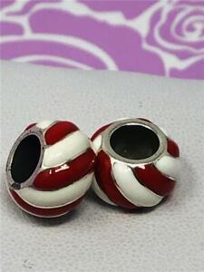 2 BRIGHTON  candy stripes  RED/white  BEAD  / CHARM / SPACER          NWOT   2