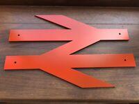 Medium BR Red Locomotive British Rail Double Arrow Logo Plate Wall Sign