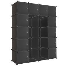 Etagère enfichable XXL penderie à vêtements rangement 147x47x183cm meuble noir