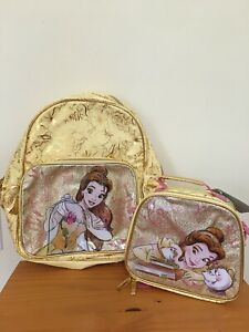 Disney Store Belle Beauty & Beast Backpack Lunch Tote Box Yellow Gold Princess