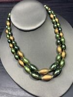Vintage 1950s beaded Green Gold beaded  Necklace Hook Clasp Double Strand