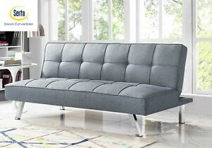 Serta Chelsea 3-Seat Multi-function Upholstery Fabric Sofa, Light Grey