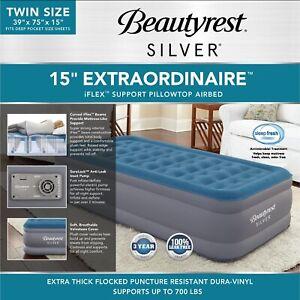 """TWIN Air Mattress Beautyrest Silver 15"""" Extraordinaire with Internal Pump 700lbs"""