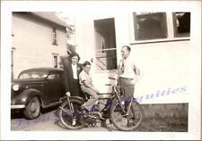 1930s Family Boy Riding Rollfast/Hawthorne Bicycle & 1936 Buick Sedan Photo