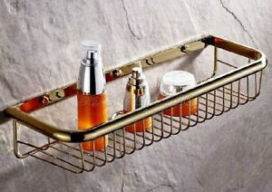 Gold Color Brass Bathroom Wall Mounted Basket Shower Caddy Wire Storage eba096