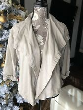 Lucy women's Tan Open Front Drape wide collar Cardigan Sz M Activewear