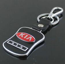 LG74 PU Leather Black Buckle Keyring For KIA Car Logo Key Ring Keychain Gift