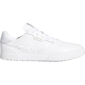 adidas Adicross Retro Mens Waterproof Spikeless Golf Shoes (White/Cloud White)