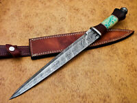 Rody Stan HAND MADE DAMASCUS MINI SWORD DAGGER - STAINED CAMEL BONE - MP-4004