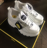 Buffalo Classic Patent Leather White Lowtop Trainers Dad Chunky Celeb £155 7 40